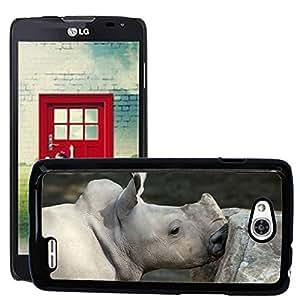 Hot Style Cell Phone PC Hard Case Cover // M00115288 Rhino White Rhino Baby Rhino // LG Optimus L90 D415