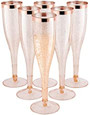 Gold Plastic Champagne Flutes [1 Box of 30 ] 6.5 Oz Gold Glitter Plastic Classic ware Plastic Toasting Glasses Disposable wine Mimosa glasses for wedding Party Cocktail Cups
