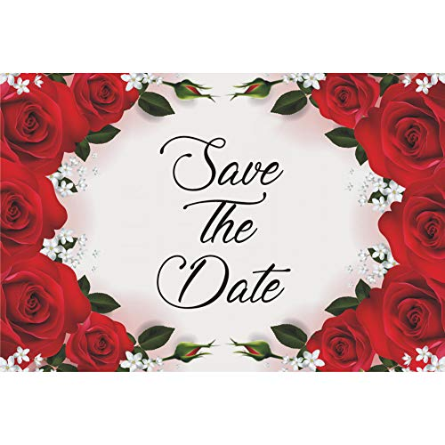 (Red Roses Wedding Save The Date Postcards - 6in. X 4in. (50))