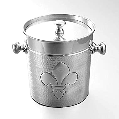 Insulated Ice Bucket with Fleur de Lis Design made of Hammered Food-Grade Aluminum