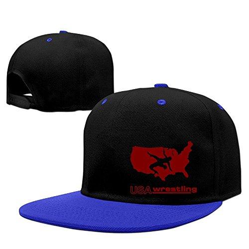 DGJ8GB Unisex USA Wrestling Hip Hop Flat Bill Snapback Hats Plain Cotton Baseball Cap Hats for Men by DGJ8GB