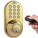 MiLocks XF-02P Digital Deadbolt Door Lock with Keyless Entry via Remote Control and Keypad Code for Exterior Doors MiLocks
