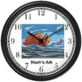 Noah's Ark No.6 - Biblical Theme Wall Clock by WatchBuddy Timepieces (Hunter Green Frame)