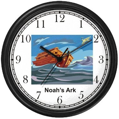 Noah's Ark No.6 - Biblical Theme Wall Clock by WatchBuddy Timepieces (Hunter Green Frame) by WatchBuddy