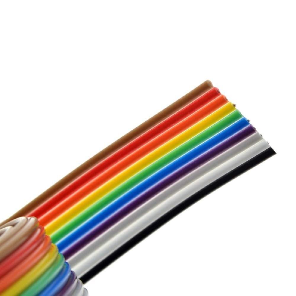 Flachbandkabel IDC Draht 10 Pin 6M f/ür Raspberry Pi Breadboards oder Ihres Arduinos 2,54 mm Stiftleisten Steckverbinder