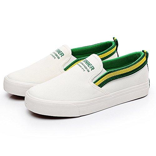 Bianco Uomo Tela Scarpe Scivolare Comfort amp;verde Moda Jamron Nastri Espadrillas Ginnastica Su Resistente da Con qFwAUnxO