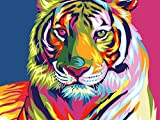 "iCoostor Paint By Numbers DIY Acrylic Painting Kit For Kids & Adults By 16"" x 20"" Colorful Tiger Pattern With 3 Brushes & Bright Colors…"