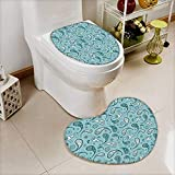 vanfan 2 Piece Toilet Cover set Islamic Arabian Inspiredwith Rounded Modern Ornaments Bathroom Non-slip Soft Absorbent Heart shaped foot pad