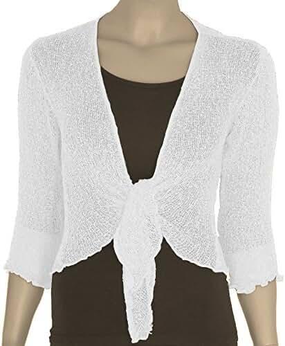 New Women's Crochet Fish Net Bolero Shrug Wrap Tie Up Crop Cardigan Top One Size USA 4-10