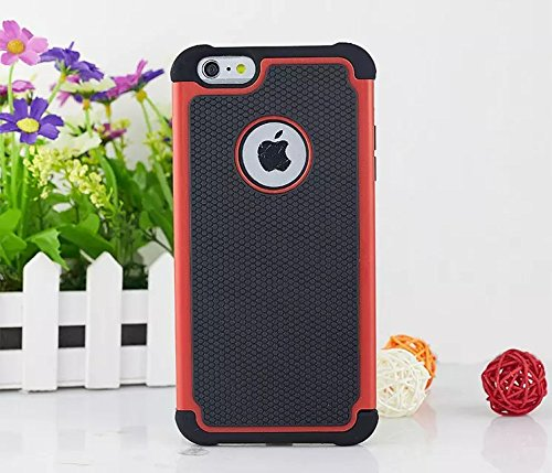 iPhone 6s Plus-hülle, iPhone 6 Plus-Kasten, Lantier 2 in 1 Hybrid-Kasten-Abdeckung PC + Silikon-Hybrid High Impact Defender Case Combo Fest Taschen Bezüge rot