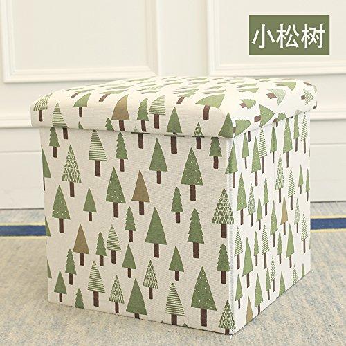 STJK $ bmjw保存Folding Stoolsファブリックとして使用できるシート小さなソファ椅子高パッドフットレスト寝室に座って子供の靴 6930758300364 B07CKQJ4ZY  Pine Tree[38*38*38cm]