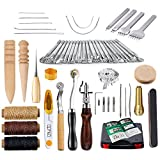 #2: Caydo 59 Pieces Leather Craft Hand Tools Kit for Hand Sewing Stitching, Stamping Set and Saddle Making