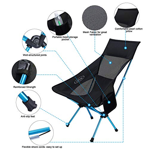 G4Free Portable Camping Chairs Folding Lightweight Outdoor Backpacking Chair in a Carry Bag for Pinic Beach Festival,Medium Size Camp Chair Mesh Back with Side Pouch