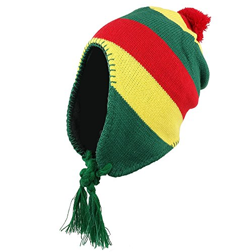 Jamaican Ear Cover Beanie Hat with Pom Pom - (Ear Cover Knit Hat)