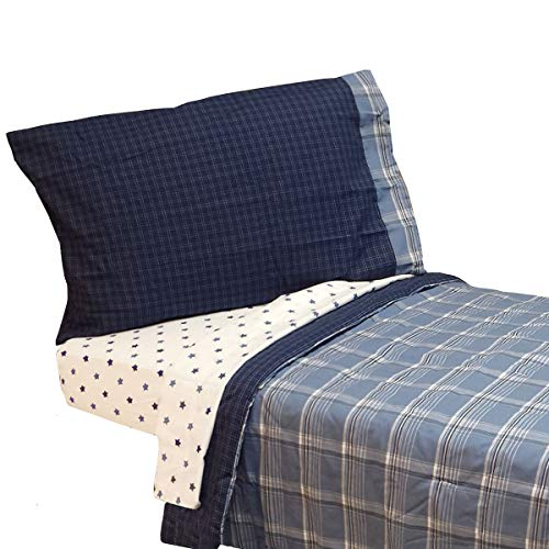 New Nojo - Westport Blue Plaid Toddler Bedding Set 4pc Comforter Sheets - (Type of Product:Bedding-Bed-in-a-bag) - New