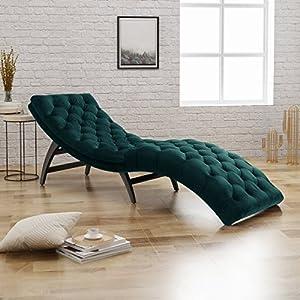 Christopher Knight Home Garret Tufted Velvet Chaise Lounge, Teal / Dark Brown