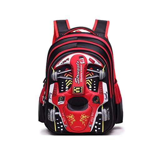 XMCOWAYOU Water Resistant Boys Backpack 3D Cute Car Cartoon SchoolBook Bag Red Grades 1-2 -