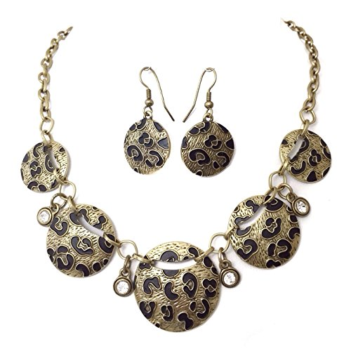 Leopard Print Gold Tone Rhinestone Dangle Disk Necklace Earrings Set (Animal Necklace Set Print)
