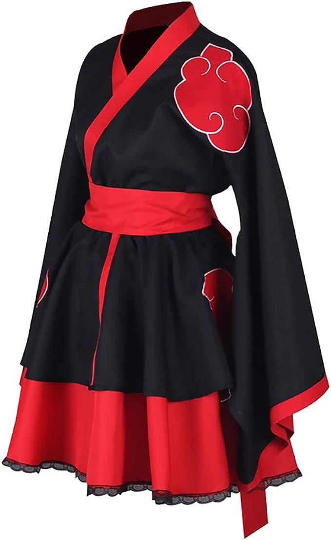 hot Shippuden Akatsuki Organization Female Lolita Kimono Dress Cosplay Costume