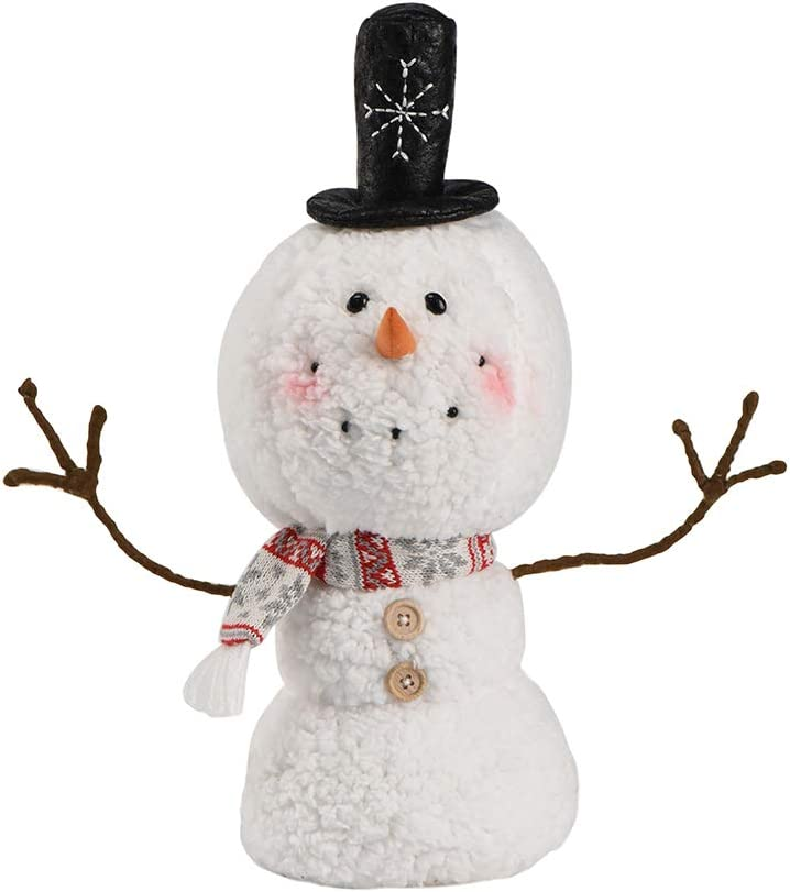Christmas Animated Snowman 2020 Ornaments, Black Hat Xmas Plush-Knit Collectible Plush Doll, Outdoor Home Decorations 15.7 inch