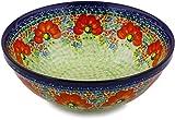 Polish Pottery Bowl 9-inch (Garden Meadow) UNIKAT