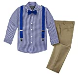 Spring Notion Boys' 4-Piece Suspenders Outfits Spring Collection 7 Khaki/Navy