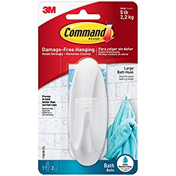 Command Designer Bath Hook, Large, White, 1-Hook with Water-Resistant Strips (17083B-ES)