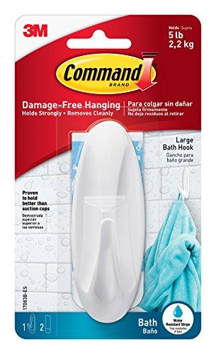 Designer Robe Hook - Command Designer Bath Hook, Large, White, 1-Hook with Water-Resistant Strips (17083B-ES)