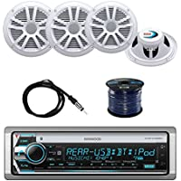 Kenwood KMRD768BT Marine CD Receiver with Boss Audio MR6W 6.5 Inch 180W Marine Speakers (2-Pairs), Enrock EKMR2 Marine Antenna and Enrock EM16G50FT-OFC Audio Marine Grade Spool of 50 16G Speaker Wire