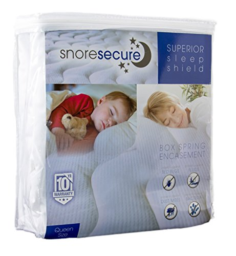 Box Spring Encasement By Snore Secure | Fitted Style, Waterproof, Breathable, Hypoallergenic, Vinyl Free | Protection Against Bed Bugs & Dust Mites | No Crinkling (Queen Size) by Snore Secure