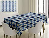 Unique Custom Cotton and Linen Blend Tablecloth Navy and White Conceptual Cultural Nature Design Arabian Flower Decorations Light Blue White ApricotTablecovers for Rectangle Tables, 86 x 55 inches