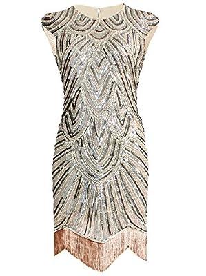 Women's Homecoming Dress 1920s V Neck Beaded Fringed Great Gatsby Flapper Dresses