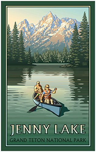 Jenny Lake Grand Teton National Park Canoers Travel Art Print Poster by Paul Leighton (24