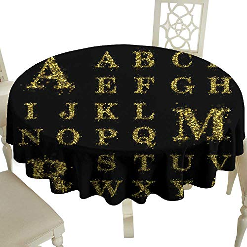 WinfreyDecor Fabric Dust-Proof Table Cover Sparkling Golden Glitter Sequins Font Set A to Z for Kitchen Dinning Tabletop Decoration D43
