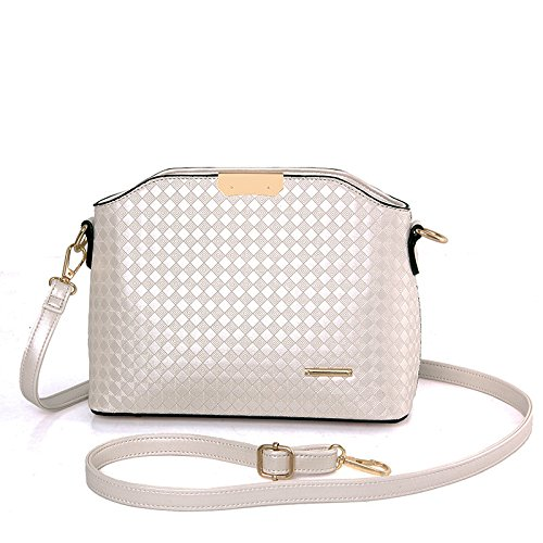 HYP Handmade Leather Tote Bag Travel Bag&Computer Bag For Women Single Shoulder Oblique Cross-Package Female Bag Argyle Embossed, Pearl White