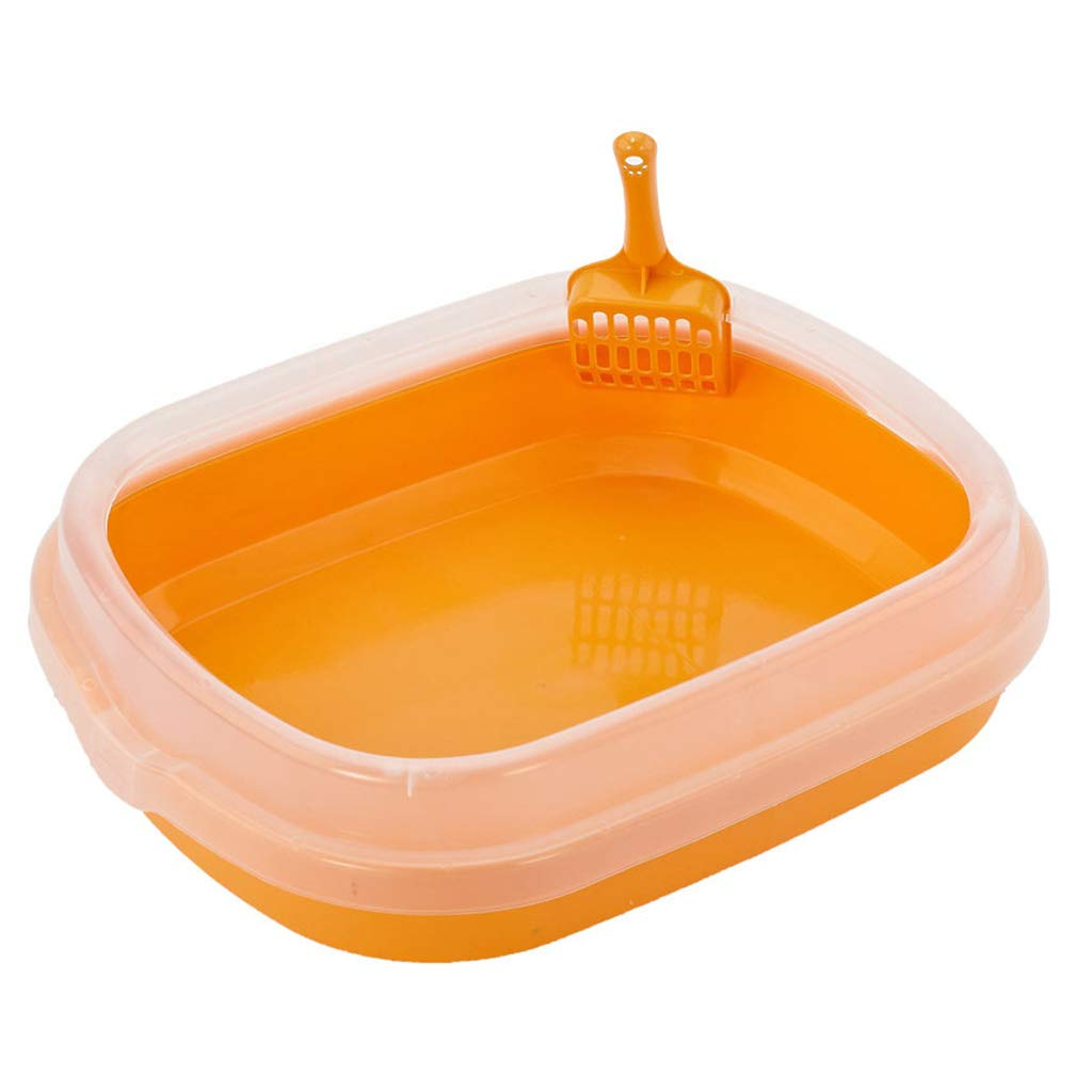 Large Cat Litter Tray Box High Sided Deep Toilet Loo Plastic Removable with Shovel,Orange by LTLJX