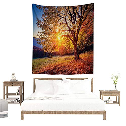 alisoso Wall Tapestries Hippie,Fall Tree Decor,Big Majestic Autumn Tree Shedding Faded Leaves on Hill Slop Season Landscape,Brown W55 x L55 inch Tapestry Wallpaper Home Decor ()