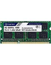 Timetec 8GB DDR3L / DDR3 1600MHz PC3L-12800 / PC3-12800 Non-ECC Unbuffered 1.35V / 1.5V CL11 2Rx8 Dual Rank 204 Pin SODIMM Laptop Notebook PC Computer Memory RAM Module Upgrade (8GB)
