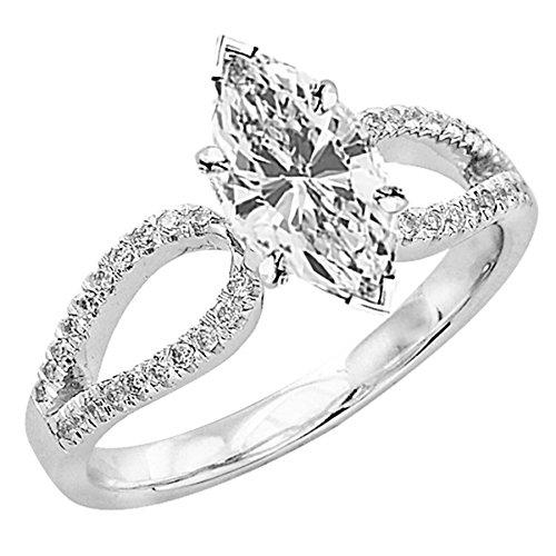 1.67 Ct Marquise Diamond (1.67 Carat t.w. GIA Certified Marquise Cut Platinum Split Shank Curved Pave Set Diamond Engagement Ring (I-J Color VVS1-VVS2)