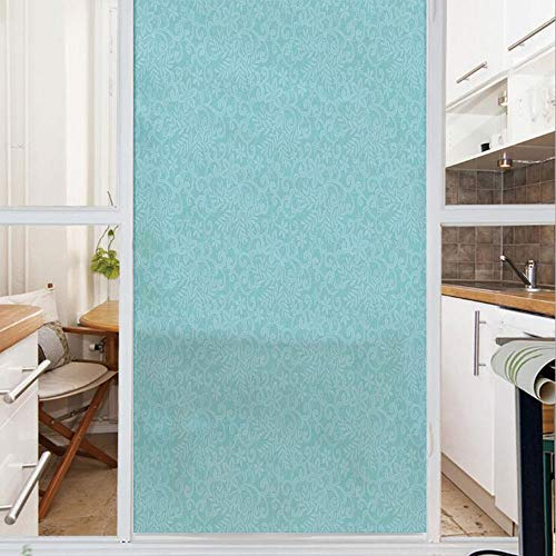 Decorative Window Film,No Glue Frosted Privacy Film,Stained Glass Door Film,Ornate Repeating Lace Pattern Background Floral Retro Motifs Romantic Bohemian Design,for Home & Office,23.6In. by 59In Blue