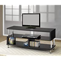 Plasma LCD TV Stand with Chrome Accents in Black Finish
