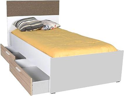 Adore Base - Cama con 2 cajones, melamina, Color Blanco y Roble
