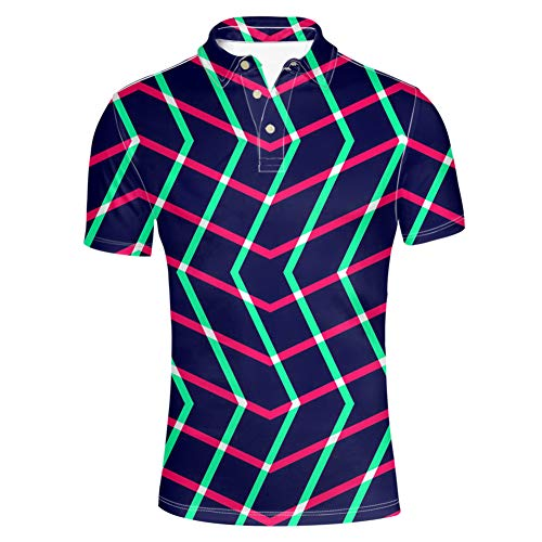 (HUGS IDEA Mens Pique Sport Polos Shirt Contrast Color Geometry Striped T-Shirt Athletic Breathable Short Sleeve)