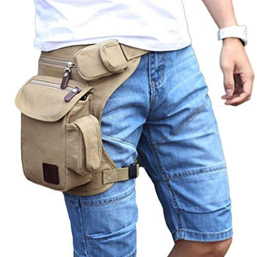 Bolsa De Pierna SMARTLADY Hombre Bolso de Cintura para Deporte Aire Libre excursiones y viajes (Beige) Beige
