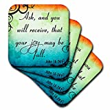 3dRose cst_150079_2 Bible Verse John 16-24 Gradient Vibrant Swirl Bible Christian Inspirational Saying-Soft Coasters, Set of 8