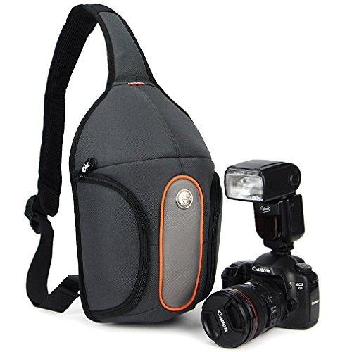Caseman Ap02 Gray Dslr Camera shoulder bag case Sling Travel Waterproof fit for Canon Sony Nikon Pentax