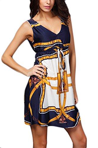 Frauen Blusenkleider Freizeitkleid Ärmellos Tiefem V-Ausschnitt Trägerlos Print Muster Elastische Taille Minirock Elegant Short Dresses Unique Minikleid Gelb