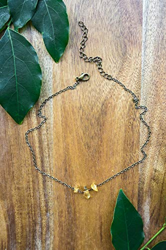 - Citrine beaded chain choker necklace in bronze - 12