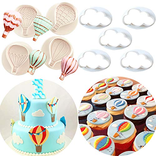 Set of 9 JeVenis Hot Air Balloons Fondant Mold Hot Air Balloon Shape Molds Cloud Fondant Mold