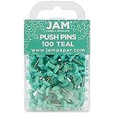 JAM Paper® Push Pins / Thumb Tacks - Teal - 100/Pack